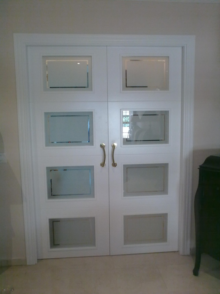 5t12 v57 detalle cristal decorado cenefa puertas - Puertas de paso lacadas en blanco ...