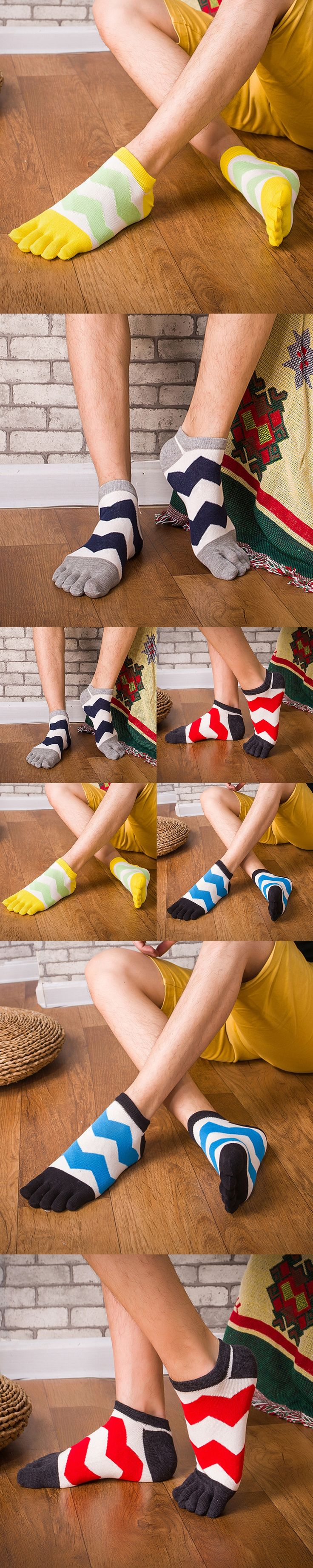Summer thin 1 pair Colorful Wave Warm Five Finger Toes Socks Cotton Crew Socks for Men