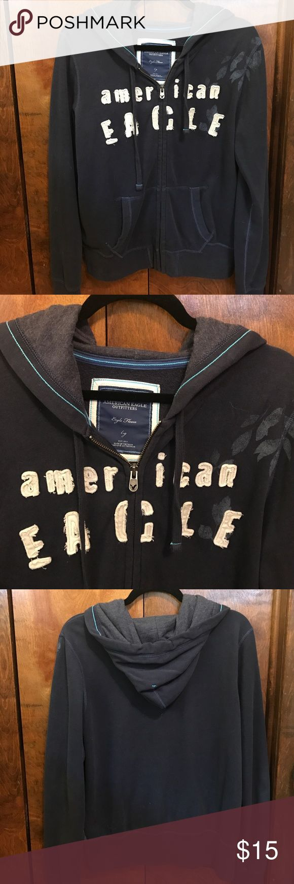 American Eagle Zip Up Dark blue American Eagle zip up, great condition, size large on tag - but fits more like a bigger medium. Make an offer! American Eagle Outfitters Tops Sweatshirts & Hoodies