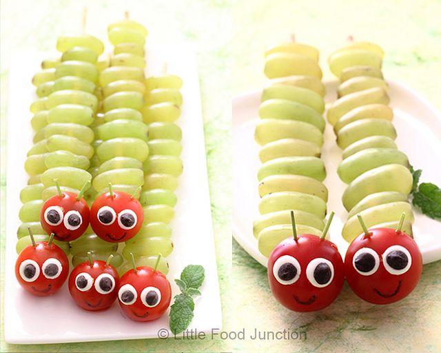 oruga de uvas - Meriendas Saludables Para Fiestas Infantiles                                                                                                                                                                                 Más