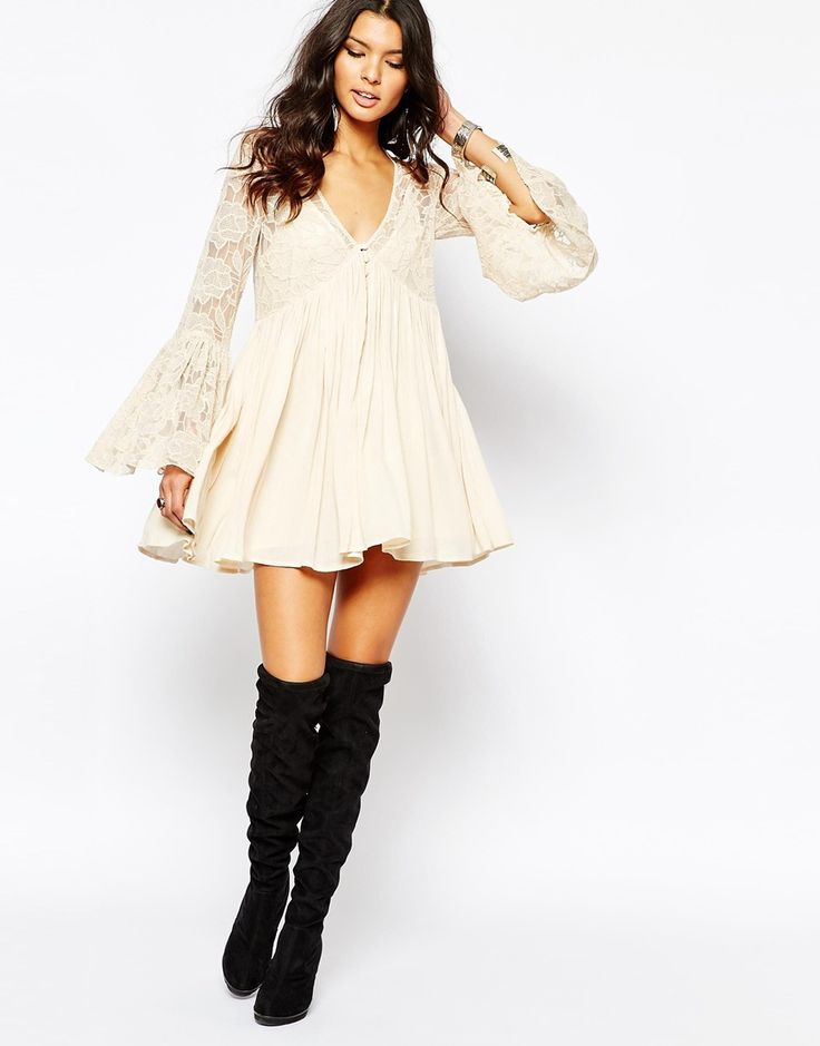 Image 4 ofFree People With Love From India Lace Dress With Bell Sleeves in Cream