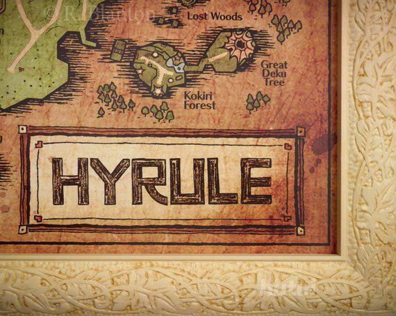 Map Of Hyrule From Legend Of Zelda Ocarina Of Time English Etsy Legend Of Zelda Ocarina Of Time Zelda Map