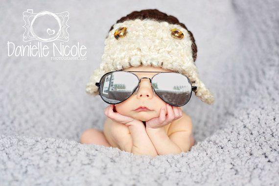 Bébé Aviator Hat pilote nouveau-né 0 3M 6m Brown Bomber chapeau au Crochet Photo Prop bébé vêtements garçons filles cadeau mignon l'année