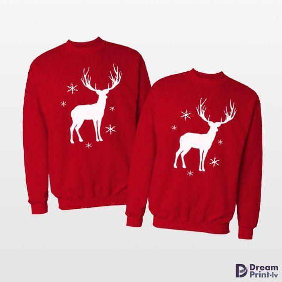 Elk Deer Ugly Christmas Sweater Red Adult Sweatshirt