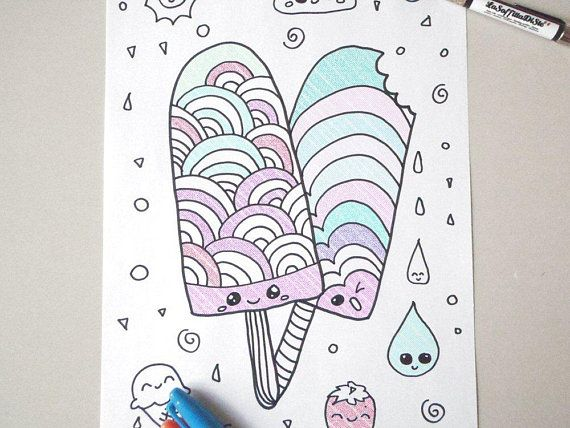 Kawaii Coloring Popsicle Ice Cream Kids Adult Instant