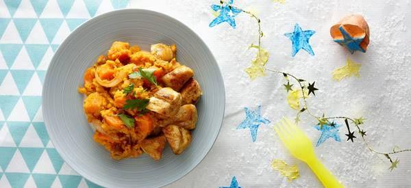 Winterstamppotje met kip, worteltjes en zoete aardappel