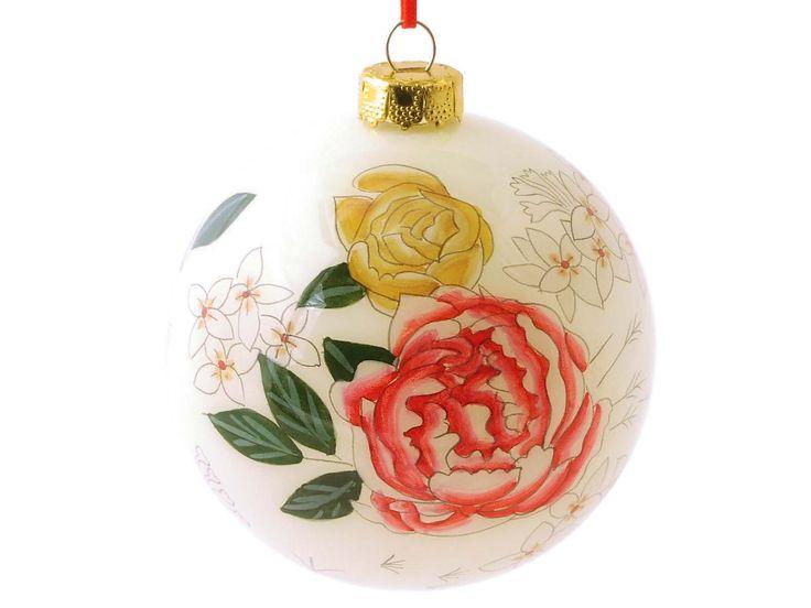 Peony Glass Ornament