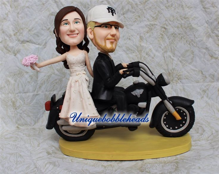 Motorcycle wedding cake topper,unique cake topper,funny cake topper,custom made,bride cake topper,groom cake topper look like you by Uniquebobbleheads on Etsy https://www.etsy.com/listing/189516794/motorcycle-wedding-cake-topperunique