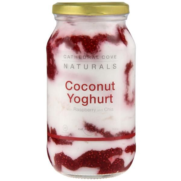 Description Ingredients Nutrition Recipes Find yourself a jar of Cathedral Cove Naturals' Coconut Yoghurt with Raspberry and Chia at Farro Fresh stores, most Ne