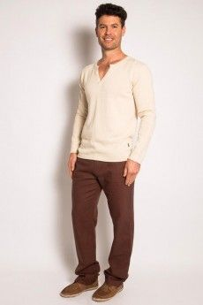 Natural looking V neck Hemp Jumper with light weight Hemp pants