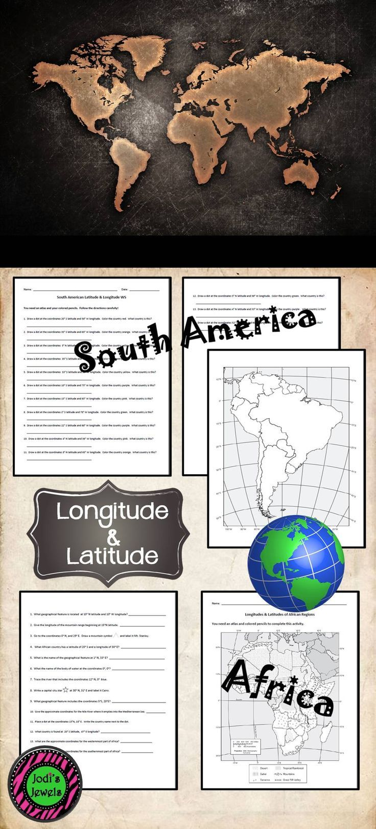 Us Lat Long Map%0A Enrich your units about South America and Africa with longitude and latitude  practice Fun and challenging