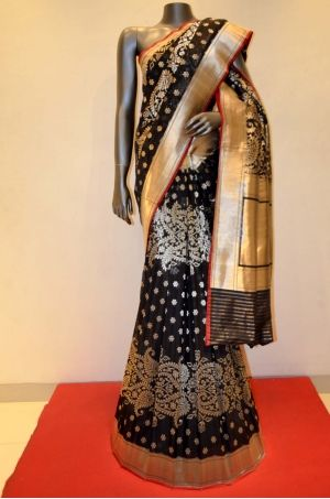 Exqusite Black Banarasi Summer Silk Saree