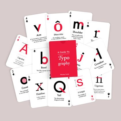 Love typography? Do you know what typography terms like 'Serif', 'Counter' or 'Arm' mean? !  This deck of 54 cards is ideal for anyone who loves typography. What makes it even more fun is that you can gather friends for a round of poker, all the while learning a thing or two about the 'Anatomy of Type'.   Learn all about typography by getting the deck for yourself or a friend today!