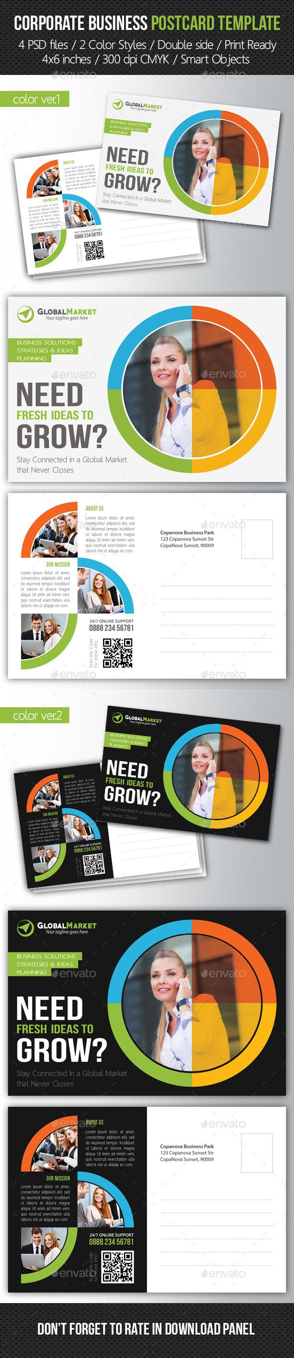 Corporate Business Postcard Template #design Download: http://graphicriver.net/item/corporate-business-postcard-template-v03/10253301?ref=ksioks