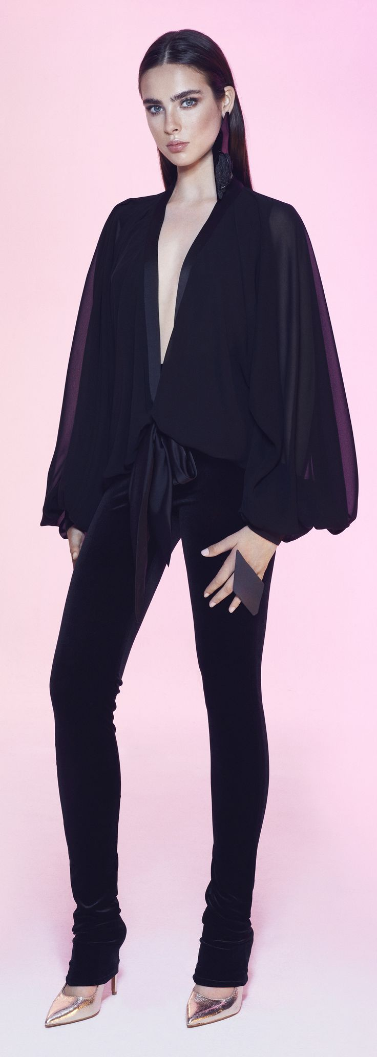 Onyx Top: Black chiffon-satin top. Low-closing blouse with longer tapes to tie up the shirt above the waist. Long bomber and flowy sleeves with cuffed wrists. #RTW #top #black