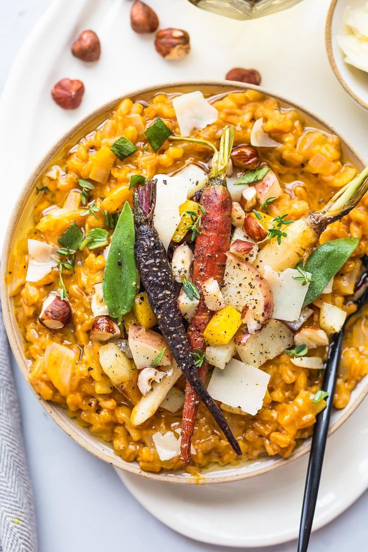 This Pumpkin Farro Risotto with Roasted Root Vegetables is a great vegetarian holiday entree option or the perfect dinner for a chilly winter evening.