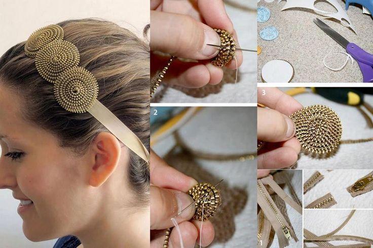 head band DIY using zippers