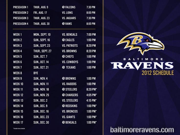 Baltimore Ravens 2012 Schedule..... soooooooooo pumped!!!