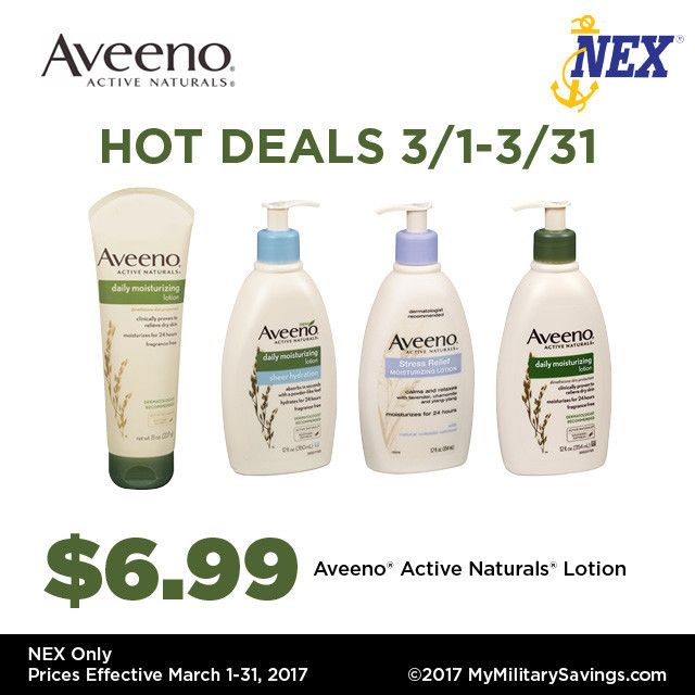 Calling all Aveeno® fans! 🙋🏼 Check out these hot Navy Exchange deals happening thru March!