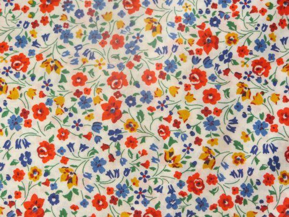 Liberty of London Fabric Kimberley and Sarah Tessuti Tissus Tecidos Telas Liberty Red blue foral cotton by FitaDeVies