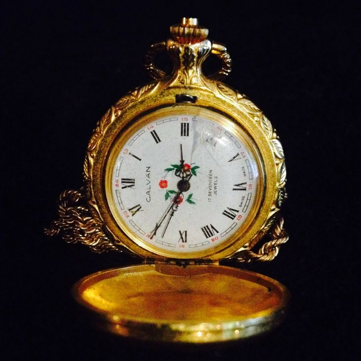 Amazing Seventeen jewels Calvan Swiss made Gold Pocket Watch with Red Poppies by PastFunk on Etsy