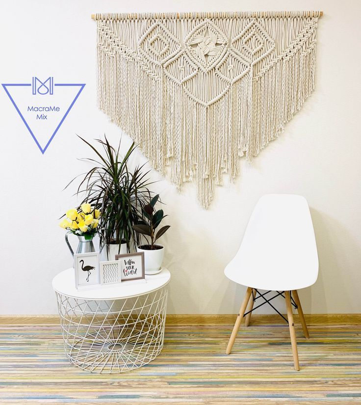 Hang above bed macrame wall hanging, Over the bed …
