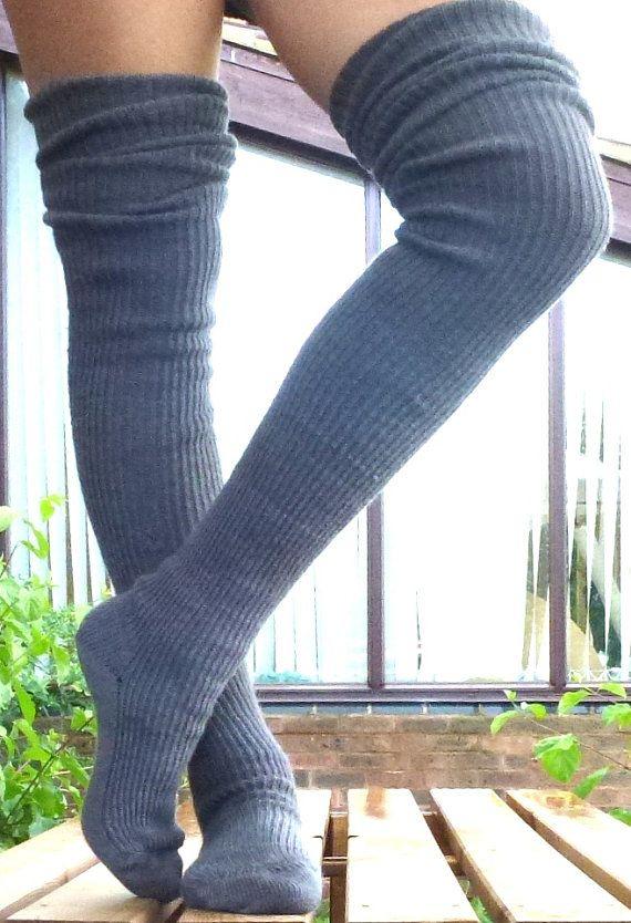 Thigh high  KNITTED WOOL socks  Better than leg warmers  extra long  120cm leg shades of