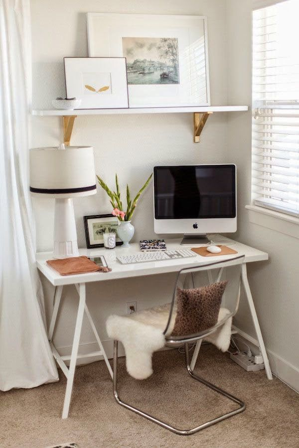ideas about home office organization small corner office space this is all i need love the ikea shelf brackets painted gold