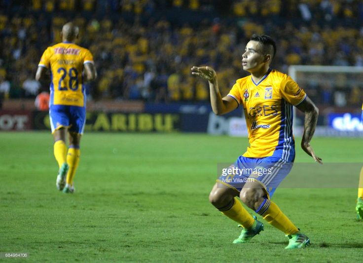 Lucas Zelarayan celebrates after scoring his team's first goal the semi finals first leg match between Tigres UANL and Tijuana as part of the Torneo Clausura 2017 Liga MX Universitario Stadium on May 18, 2017 in Monterrey, Mexico.