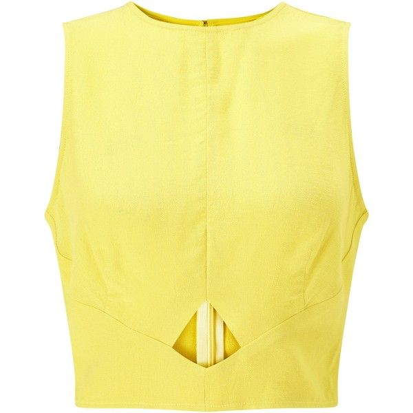 Miss Selfridge Peekaboo Shell Top, Chartreuse (£25) ❤ liked on Polyvore featuring tops, cutout tops, sleeveless shell top, shell tops, cut out tank top and cut-out tops