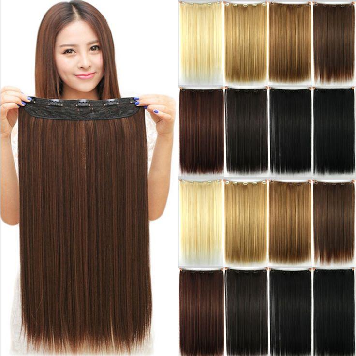 """23 """"58 CM 145g Syntetyczne 3/4 Pełny Klip Głowy W Przedłużanie Włosów Prosto Hairpiece Halloweek Włosów"""