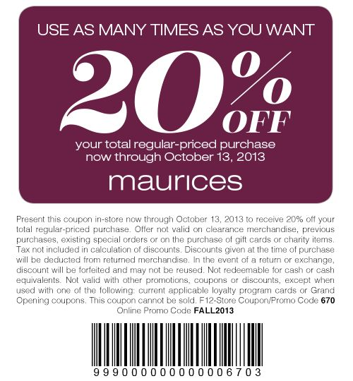 Maurices coupon codes 2018