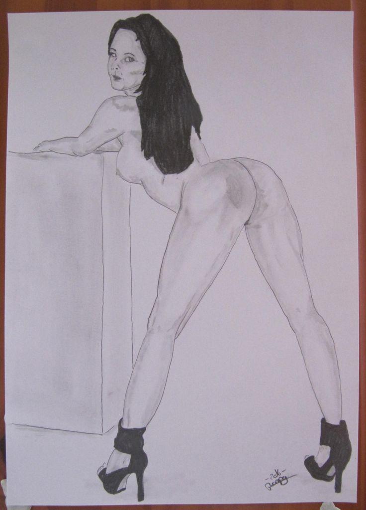 """dessin erotique nu féminin nue """"apprêtée pour la fessée"""" crayon graphite de la boutique vanspeygalleryart sur Etsy"""