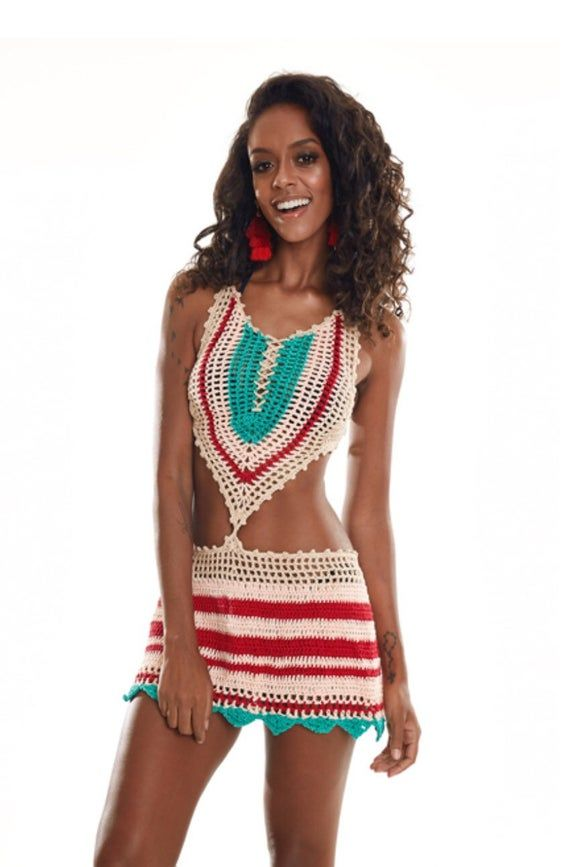 Crochet Beach Cover Up Dress , Boho Hippie Dress, Festival Clothing. 2