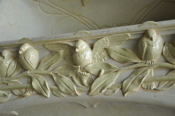 French Art Nouveau Period Stoneware Fireplace