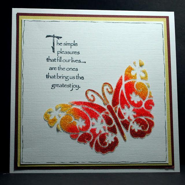 Eileen's Crafty Zone: Imagination Crafts Stencils, Distress Inks and some Sparkle Gel Medium.