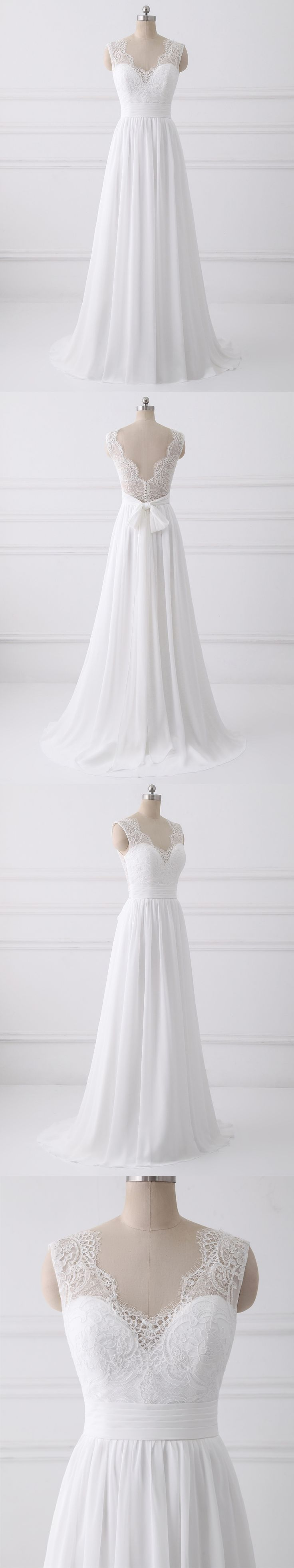 Chiffon lace beach wedding dress for summer wedding party,bridal dresses,wedding gown #sheergirl