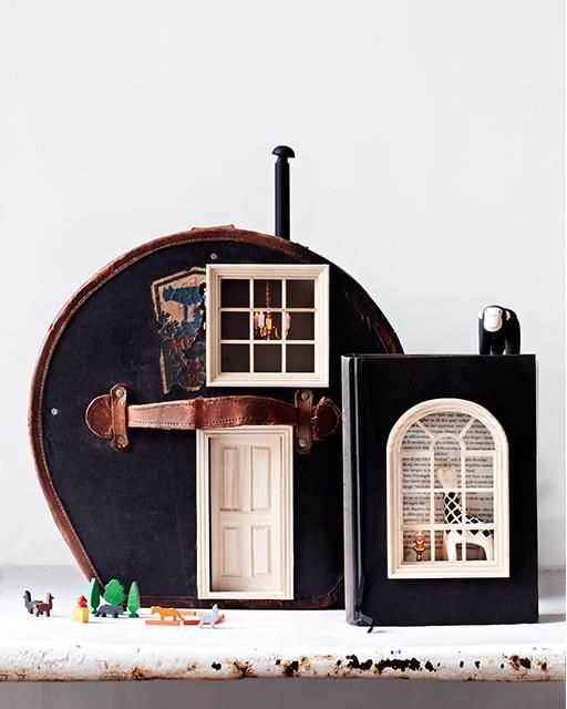 DIY transforming a vintage hat box found on Etsy into an adorable mini dollhouse