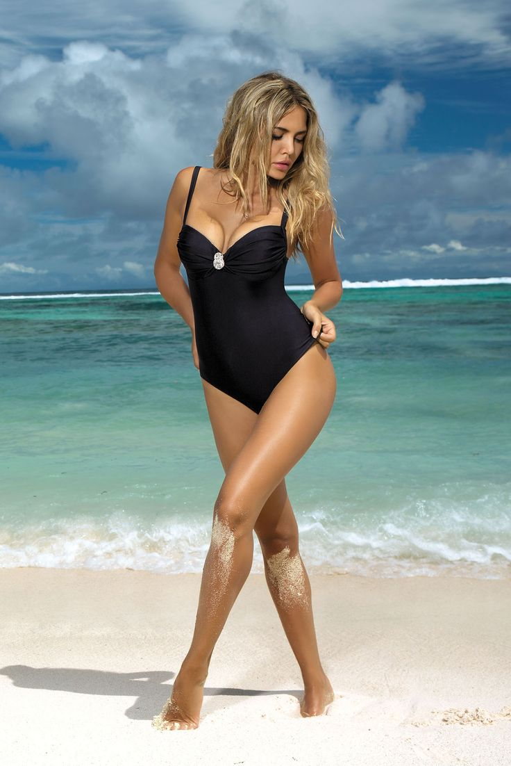 Burning Sun Black Swimsuit, elastic fabric, adjustable straps, women`s swimsuit, back fastening, push-up cups