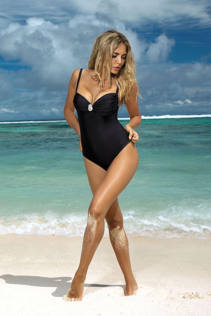 Burning Sun Black Swimsuit, elastic fabric, adjustable straps, women`s swimsuit, back fastening, push-up cups