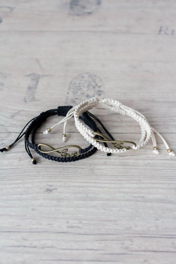 Matching couple bracelets Black and ivory couples set Infinity bracelet His and her bracelet Infinity love macrame bracelet - set of 4 by ElvishThings on Etsy