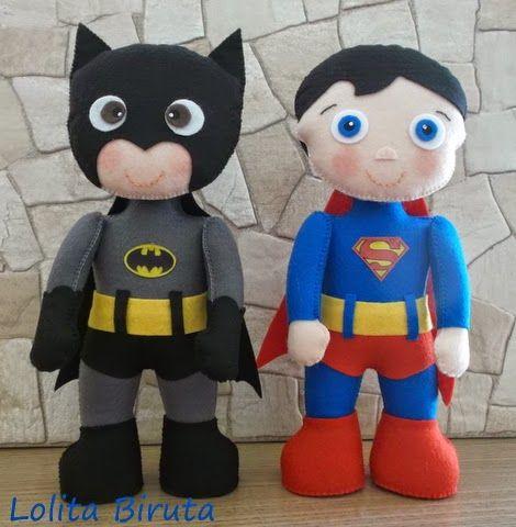 Boneco Super homem e boneco Batman em feltro com 25 cm de altura