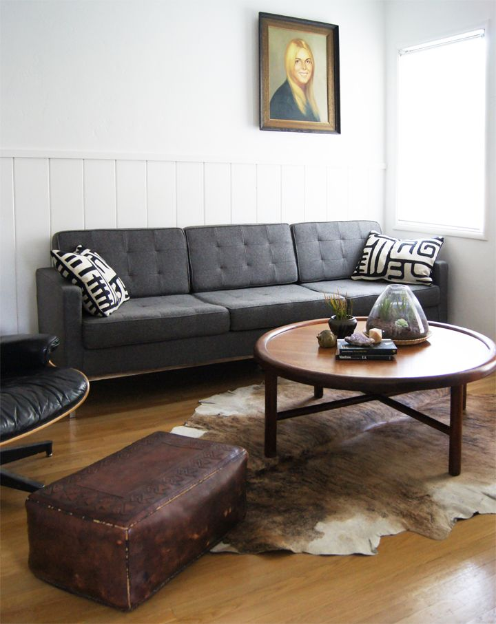 hello again gray couch friend.: Living Rooms, Brick House, Cows Skin, Leather Ottomans, Charcoal Sofas, Vintage Living, Leather Chairs, Mid Century Danishes, My Scandinavian Home