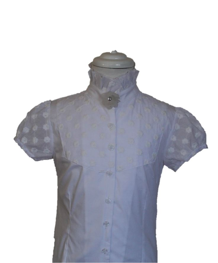 Stunning ruffle neck equestrian shirt with semi-transparent lace sleeves. Also comes in cream and navy. Child's sizes 6 - 14 available <3