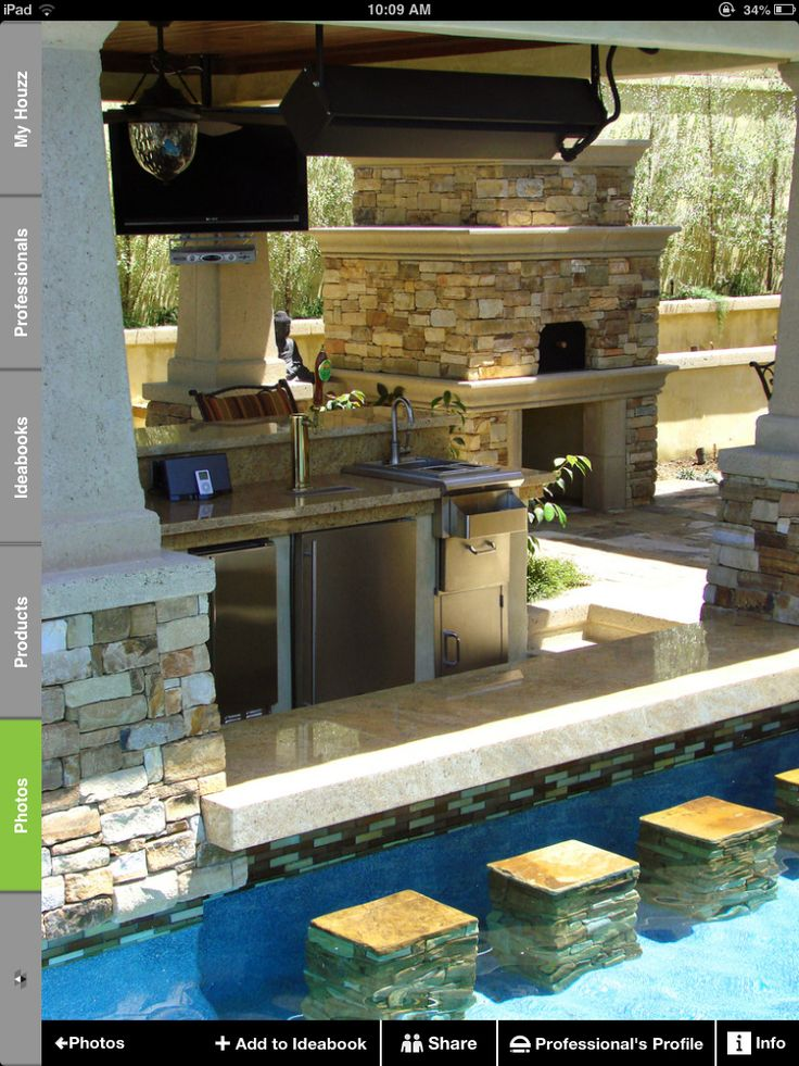 would love an outdoor kitchen with a pool bar.