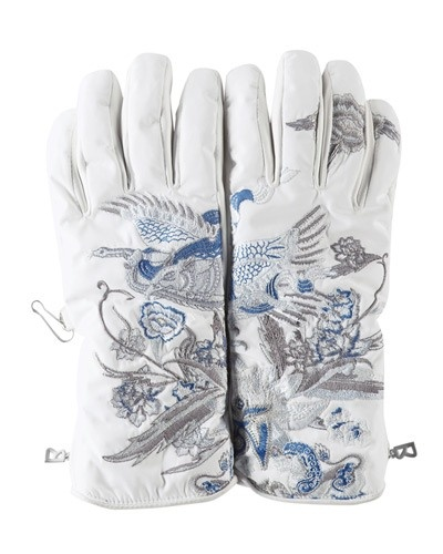 Bogner gloves with Asian inspired embroidery
