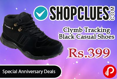 Shopclues #Special #Anniversary #Deals is offering 80% off on Clymb Tracking Black Casual Shoes at Rs.399 Only. Upper Material Synthetic and Sole Material is PVC.   http://www.paisebachaoindia.com/clymb-tracking-black-casual-shoes-at-rs-399-only-shopclues/