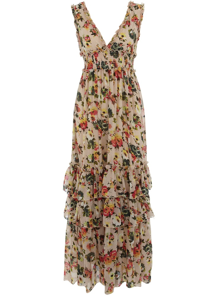 Multi coloured floral print maxi dress with ruffle hem detail. 100 polyester. Machine washable.