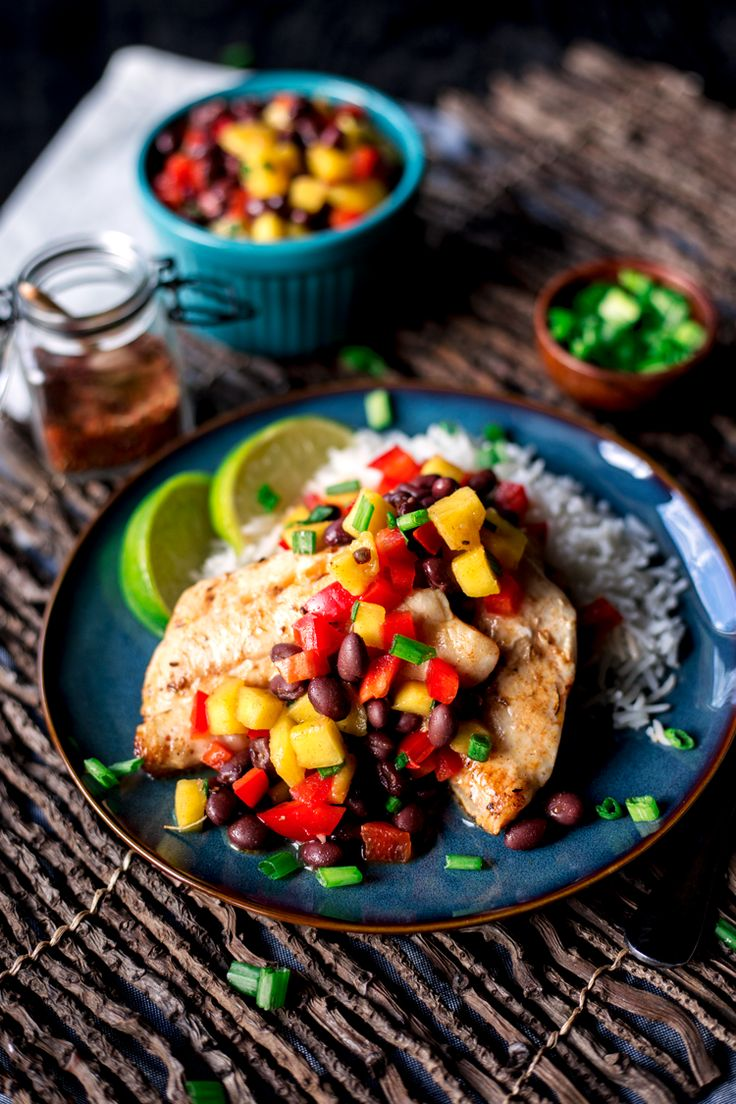 Dinner will never be the same once you've tried this amazingly fresh Spicy Salt and Lime Black Sea Bass with Mango and Black Bean Salad! | asimplepantry.com #FultonFresh AD