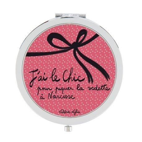 """Miroir de poche """"J'ai le Chic pour piquer la vedette à Narcisse"""""""